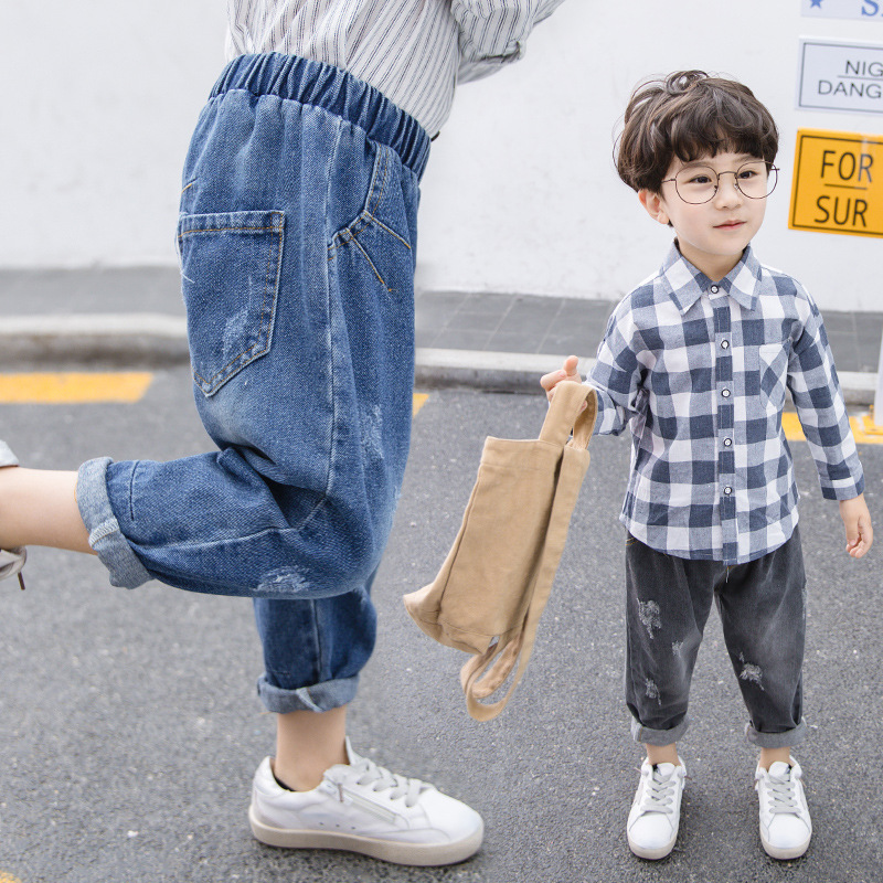 2 Colors Spring Autumn Baby Boys Ripped Jeans Toddler Vintage Style Pants Fashion Kids Loose Cowboy Denim Pants 2 3 4 5 6 Years(China)
