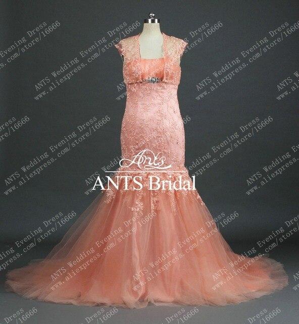 19463c9ce47 Современный с болеро кисть поезд коралловый цвет русалка свадебное платье  кружева RW434