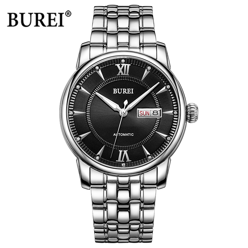 BUREI Brand Men's Automatic Mechanical Watch Mens Waterproof Business Calendar Gold Wrist Watches Clock Men 2017 Reloj Hombre mens watches top brand luxury mechanical watch men s waterproof military automatic wrist watch clock men hours 2017 reloj hombre