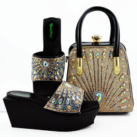 Black Color Shoe and Bag Set New 2019 Women Shoes and Bag Set African Wedding Sandals Italian Shoes with Matching Bags Set