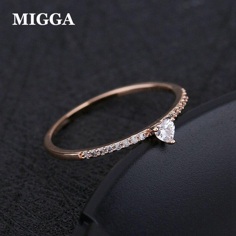 Migga Exquisite Rose Gold Farbe Beschichtung Dünne Stil Zirkonia Herz Ring Für Frauen Party Geschenk Engagement Verlobungsringe Hochzeits- & Verlobungs-schmuck