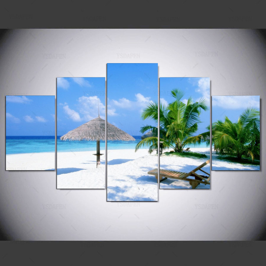 5 panel hd Peaceful Caribbean Beach Art print canvas art wall framed paintings for living room wall picture ny-1188 image