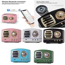 Portable Alloy Retro Style HiFi Stereo Bluetooth Speaker Sounder Box FM Radio Receiver with TF Memory Card U-Disk Built in MIC