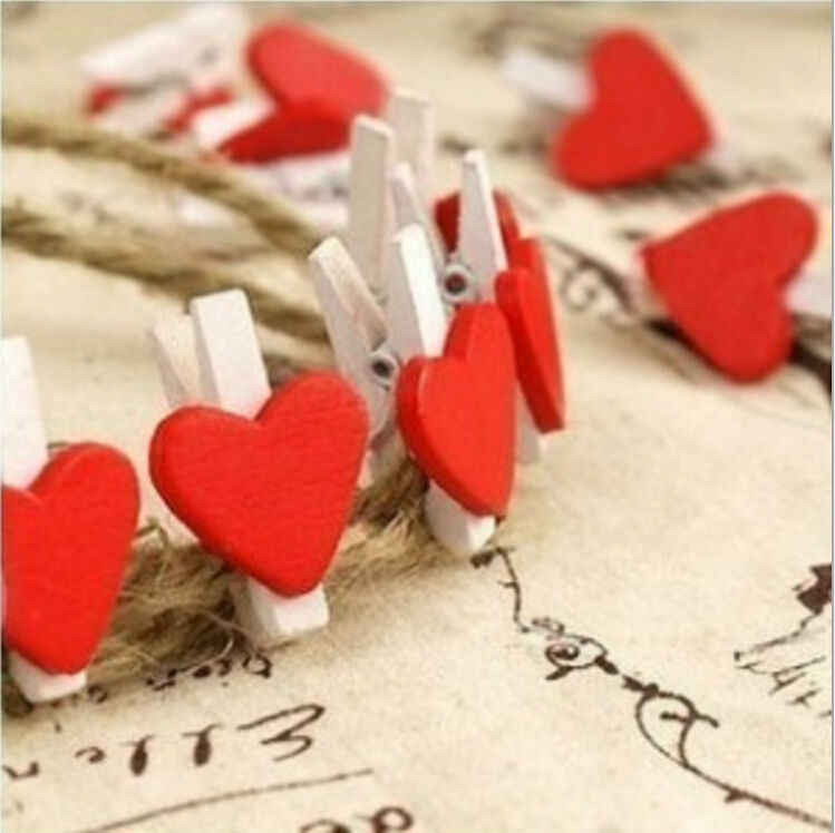 12pcs/bag Mini Heart Love Wooden Clothes Photo Paper Peg Pin Clothespin Craft Food Postcard Clips Home Crafts Decoration
