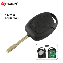 YIQIXIN 3 Buttons Replacement Remote Car Key 433Mhz Carbon Transponder Chip 4D60 For Ford Mondeo Fiesta  Focus Transit Full