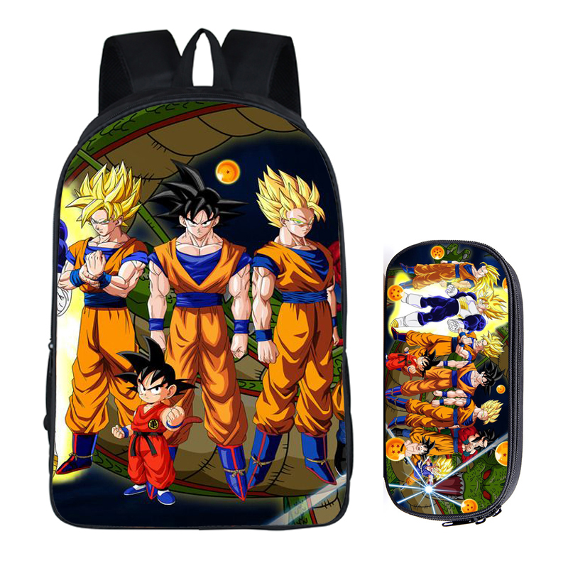 Dragon Ball 2pc Set With Pencil Case Luxury Student Backpacks Diy Printing Cool Children School Bags For Boys Kids Men Book Bag