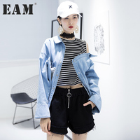 EAM 2017 Autumn Round Neck Long Sleeve Striped Light Blue Cowboy Split Joint Loose Shirt