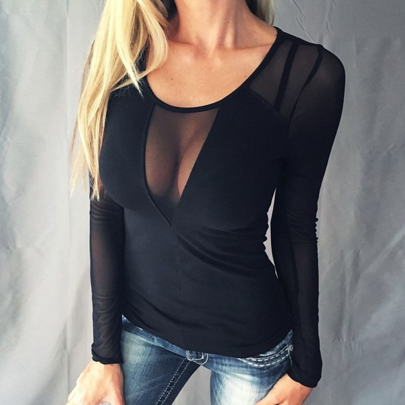 Fashion Women Autumn <font><b>Sexy</b></font> Mesh Top O Neck Long Sleeve <font><b>T</b></font> shirt Solid Women Tops Black Lace Net Yarn Slim Female <font><b>T</b></font> Shirt Ladies image