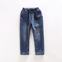2016 winter arrival new item boy and girl thick jeans pant kid cute denim pant 2