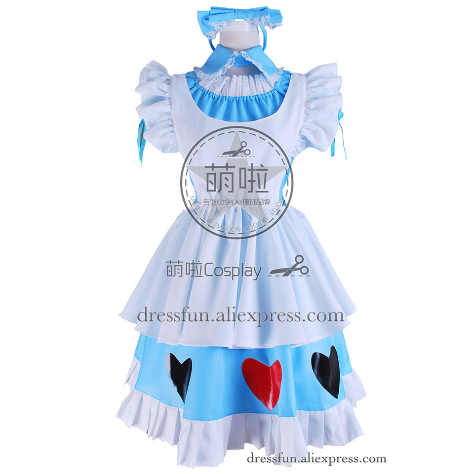 Alice In Wonderland Cosplay Alice Costume Blue Maid Dress Party Halloween Dress Beautiful Clothing Fast Shipping