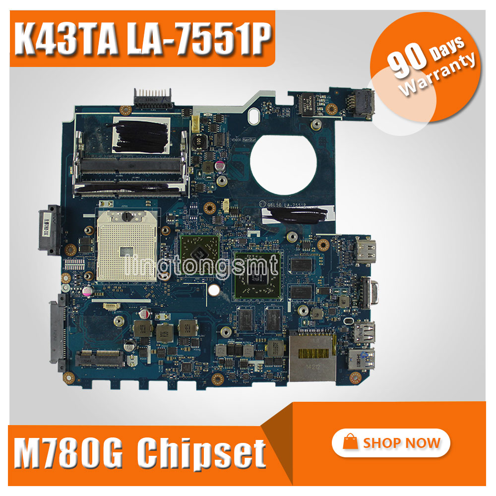 SAMXINNO For ASUS K43T K43TA K43TK X43T LA-7551P Laptop Motherboard System Board Mainboard Card Logic Board 100% Tested hot for lenovo z500 laptop motherboard viwzi z2 la 9061p z500 2g video card with graphics card ev2a 100% tested