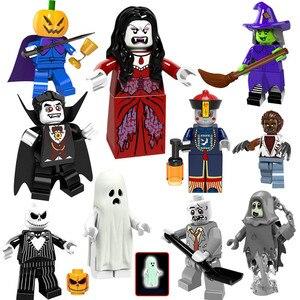Image 1 - Halloween Mini zabawka rysunek dyniowa głowa duch Moster Fighter bezgłowy jeździec wampir Zombie klocki do budowy