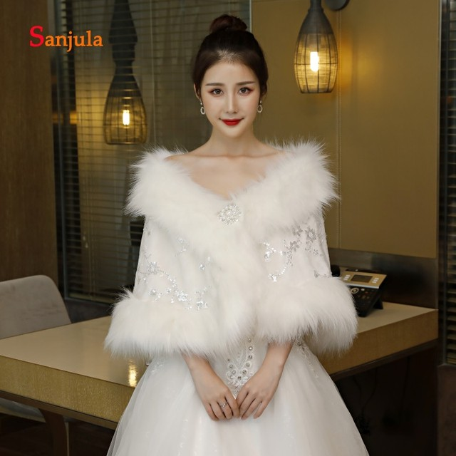 1f77e255196 Shiny Sequins Bridal Wraps Winter Dress Accessories Capes Faux Fur Wedding  Jacket for Women bolero de fiesta para mujer W22