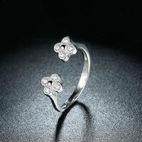 Mooie Bloemen Stijl Ringen Echt 925 Sterling Zilveren Open Ring SVR125 Groothandel Mode Bruids Sieraden Pretty Gift