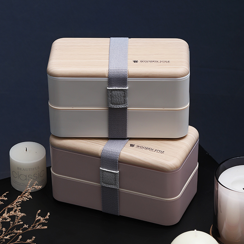 1200ml Wooden food container Lunch Box for Picnic Outdoor Tableware Carry Food Bento Box For School Microwavable 2 layer