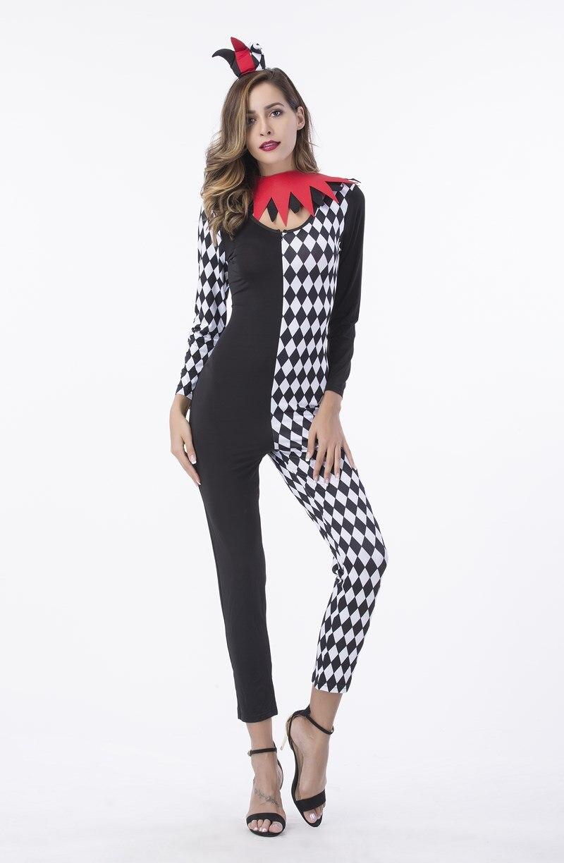 Fantasia Women Sexy Black White Plaid Bodysuit Clown -2220