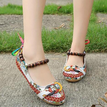 2019 Fashion Women Flat Casual Shoes Beaded Ankle Straps Slope Heel Retro Ethnic Embroidered Cloth Shoes retro women strappy beaded woven floral print anti slip cloth shoes woman gift