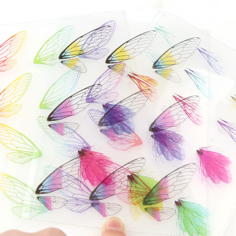 5pc Cicada Wings UV Resin Transparent Material Filling Epoxy Mold Making Tool Sticker Decorative Fit Earring Jewelry DIY Sticker