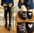 Princess sweet lolita pantyhose  Japanese harajuku graffiti style pink punk false over-the-knee pantyhose LKW57