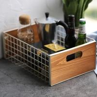Metal Iron Storage Basket With Wood Handle Net Storage Desk Sundries Food Sundries Basket Square Organizer for Home Kitchen