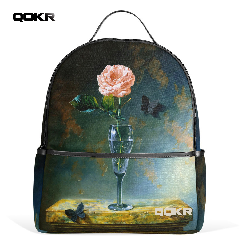QOKR women backpacks pink roses and black butterfly flower printing fashion design popular travel casual green