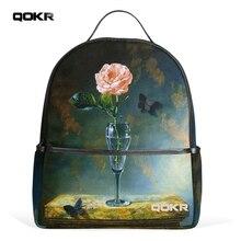 Qokr женские рюкзаки Розовые розы и черная бабочка с цветочным принтом модный дизайн популярные туристические Повседневная Зеленая студентов Daypacks