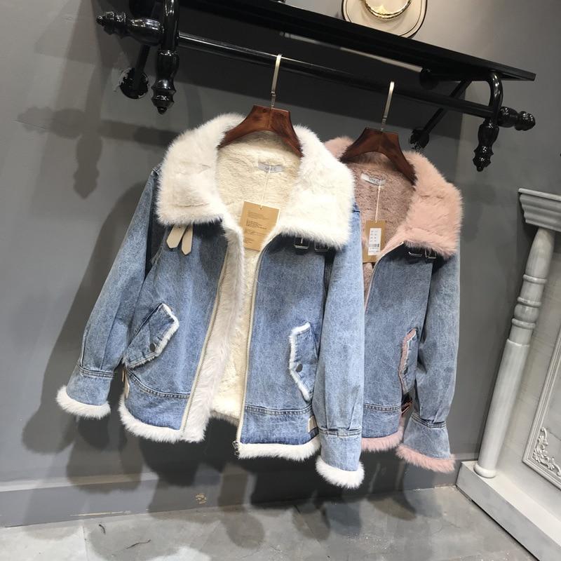 Vers Wamr rose Streetwear Polaire Automne Beige Hiver Jeans Vestes Veste Tournent Zipper Bas Denim Manteaux Épais Le Cottoon Femmes Femme Lxunyi ABYpqvw44
