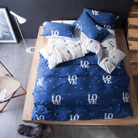 HOT fashion 100% cotton Bedding Set Printed duvet cover flatsheet pillowcase Bedspread Bed Sheet 4Pcs Queen size