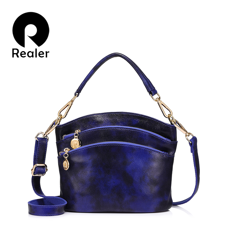 REALER Brand Women Genuine Leather Handbag High Quality Panelled Zipper Shoulder Bag Small Tote Messenger Bag 2019 New