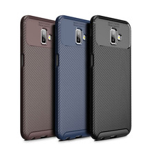 For Samsung Galaxy J3 2018 Case Carbon Fiber Phone Bag J4 J6 Plus J4+ J6+ Business Cover J7 J8