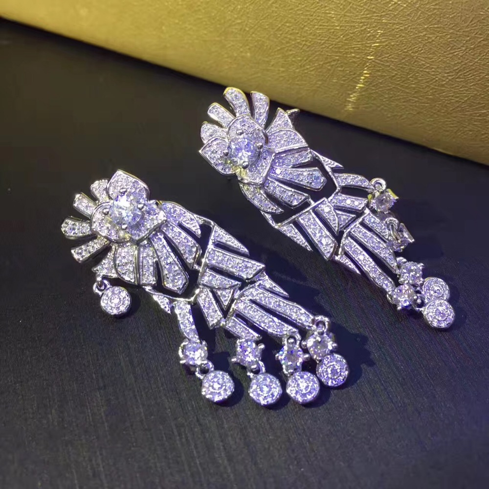925 sterling silver with cubic zircon drop earring the same style as actress party wedding earring fashion women jewelry-in Drop Earrings from Jewelry & Accessories    1
