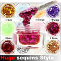hot sale 12 Colors Huge sequins Style Polish Gel Long-lasting UV Gel Glitter Nail Gel Soak off Gel Lacquer