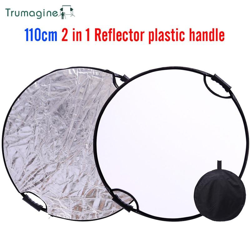 TRUMAGINE 110 CM 43 ''Portátil Dobrável Acessórios de Prata Branco Rodada Luz do Refletor Para O Estúdio Fotográfico Com Carreg o saco