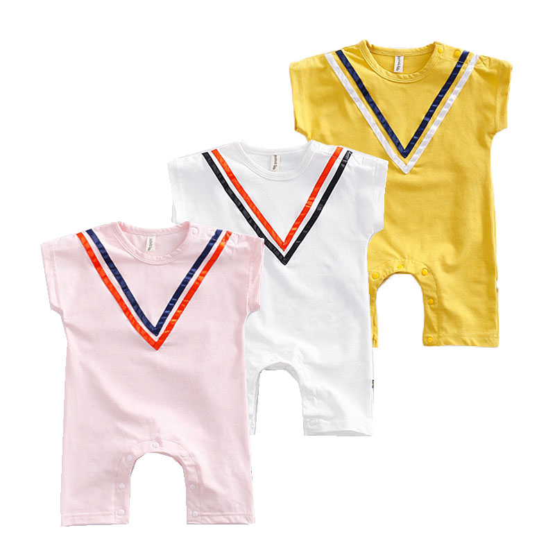 New Fashion Newborn Rompers Navy style Baby Jumpsuits Infant Boys Girls Romper Body Summer Short-sleeve Sailor Suit 2016 summer short sleeve baby boy sailor suit jumpsuit infant clothing navy newborn baby rompers