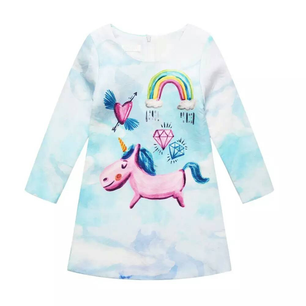 Autumn a rainbow and unicorn in the sky long sleeve dress imported-party-dress party frocks for girls Knee-Length