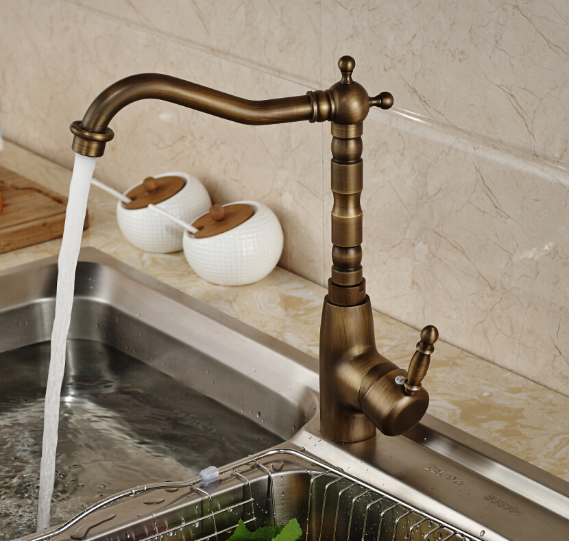 Antique Brass Swivel Spout Kitchen Faucet Single Handle Hole Vanity Sink Mixer Tap Hot and Cold Water antique brass kitchen faucet bronze finish water tap kitchen swivel spout vanity sink mixer tap single handle free shipping 6020
