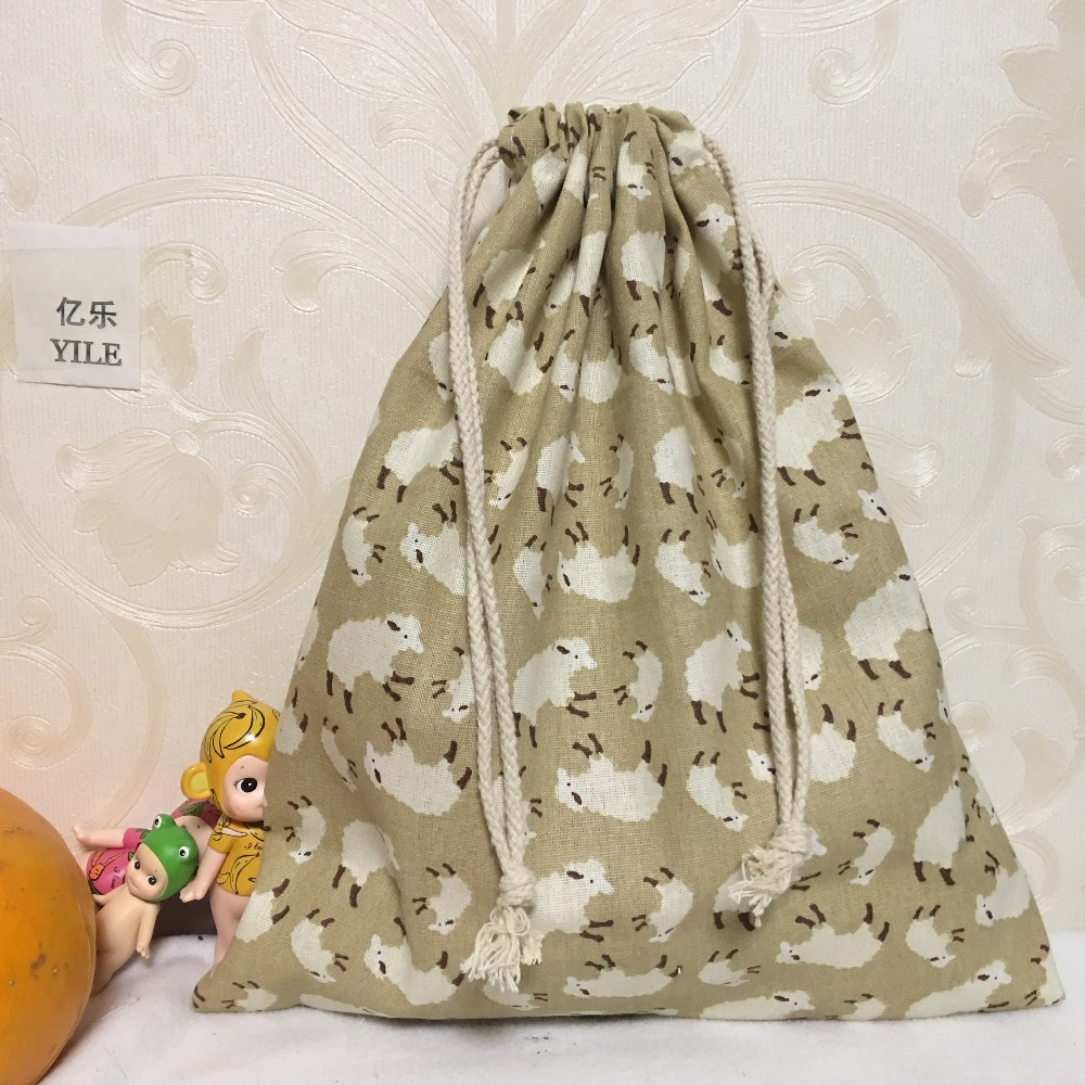 YILE 1pc Cotton Linen Drawstring Multi-purpose Organizer Travel Sorted Shoes Bag Khaki Sheep 8123d