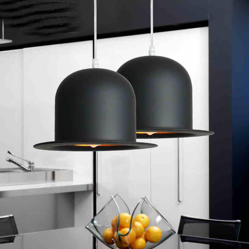 Ժամանակակից Jazz Top Hat- ի կախազարդ լույսեր E27 կրիչով սև ալյումինե կախովի լույսի տեղավորմամբ խոհանոցի հյուրասենյակի ննջասենյակի համար