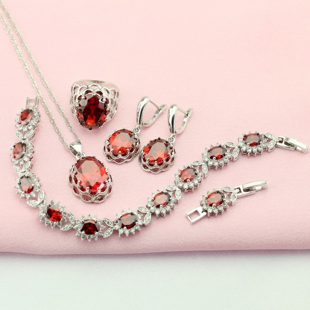 Garnet Red Artifical Stone Silver Plated Adornment Jewelry Sets Woman Earrings Bracelet Choker Necklace Pendant Ring Free Box