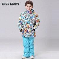 GSOU SNOW Kids Ski Suit Skiing Snowboard Jacket Pant Super Warm Windproof Waterproof Clothing Boys Girls