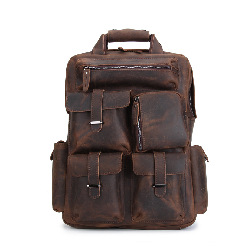 Genuine Leather Mens Backpack Crazy Horse Handmade European and American Retro Style Computer Bag