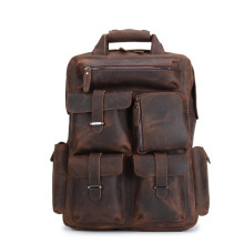 Genuine Leather Men's Backpack Crazy Horse Leather Backpack Handmade European and American Retro Style Computer Bag цена