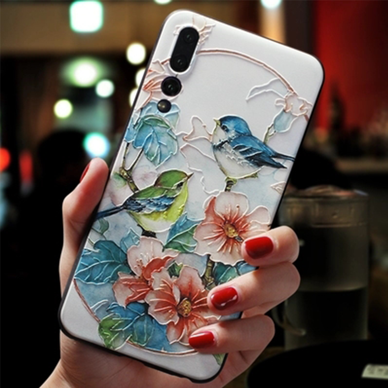 3D Relief Flower For Huawei P20 Lite Mate 20 10 Lite P Smart 2019 P8 P9 P10 Lite P30 Pro Nova 3i 2i For Honor 7A Pro 8X 6A Case