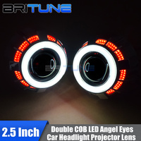 2.5'' Mini 8.0 H1 HID Bi xenon Projector Lens Double COB LED Angel Eyes DRL Halo For H4 H7 Auto Car Headlight Accessories Tuning