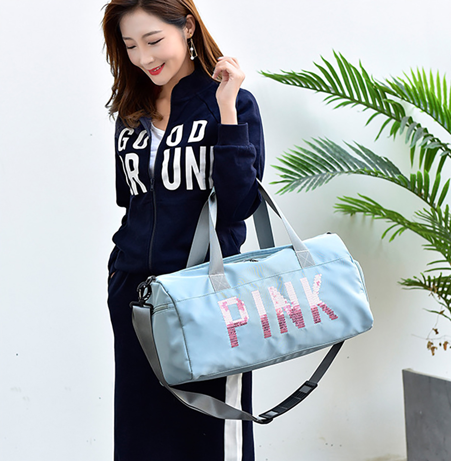 Outdoor Waterproof Nylon Sports Gym Bags Men Women Training Fitness Travel Handbag Yoga Mat Sport Bag with shoes Compartment01003104