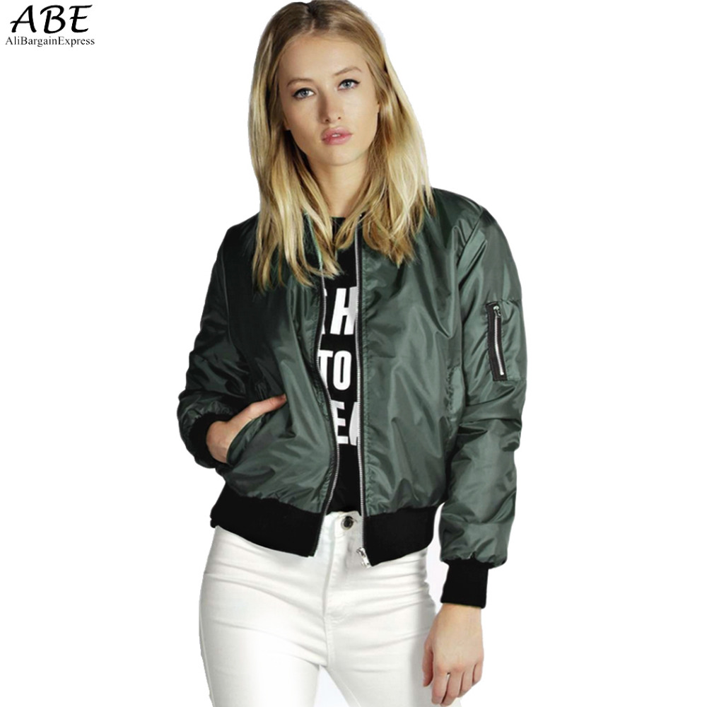 2016 Spring Autumn Women Thin Jackets Tops MA1 Bomber Jacket Long Sleeve Coat Casual Stand Collar Slim Fit Outerwear Plus Size
