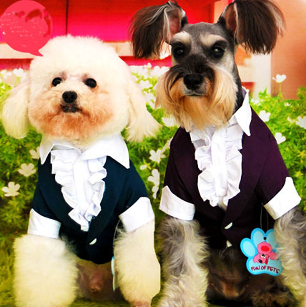 Handsome Formal Dog Tuxedos Puppy Clothes Western Style Suit Bow Tie Jumpsuit Groom Costume Pet Clothing For Weddings Favourite