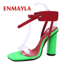 ENMAYLA  Basic Party Woman Sandals 2019 Summer Super High Square Heel Women Fashion Size 34-40 LY1049