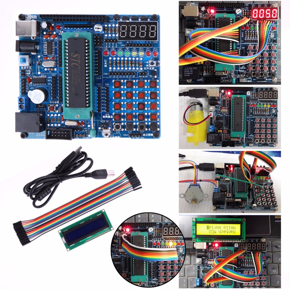 C51/AVR MCU Development Board Multifunction Test Learning Board DIY Kits atmega16a chip core avr scm development board learning board test board programmer with pins
