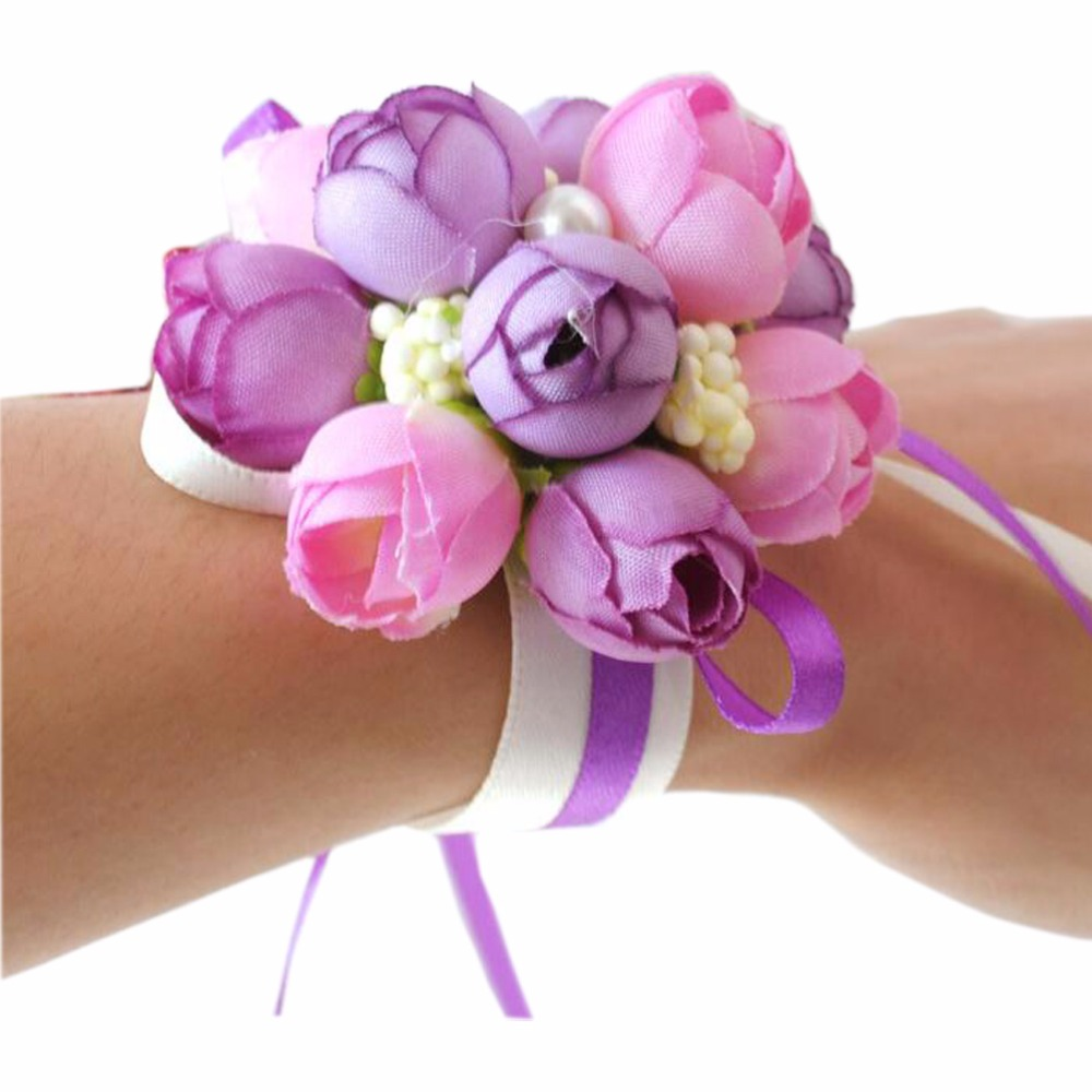 Wedding decoration Girl Brides Wrist corsages wedding Atificial ...